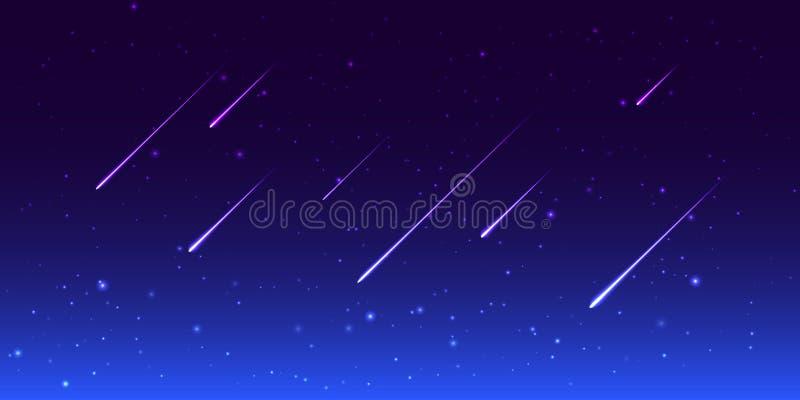 Ночное небо вектора с звездами стрельбы стоковые фото
