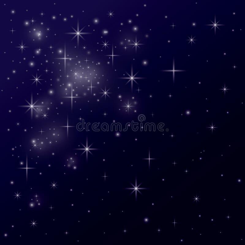 Ночное небо вполне предпосылки иллюстрации искусства звезд иллюстрация вектора