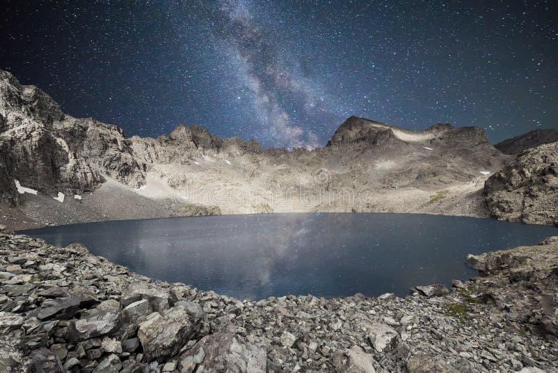 Ночное небо вполне звезд отражая на поверхности воды Озеро на плато на горах Kackar в области Чёрного моря стоковое фото