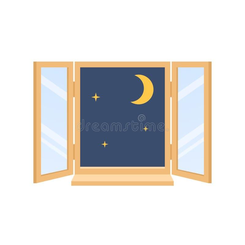 Ночное небо города с луной, звездами Окно в доме иллюстрация вектора