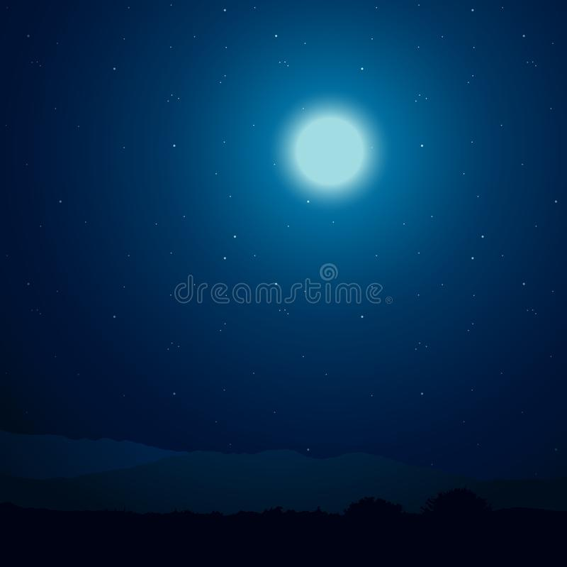 Ночное небо и луна иллюстрация вектора