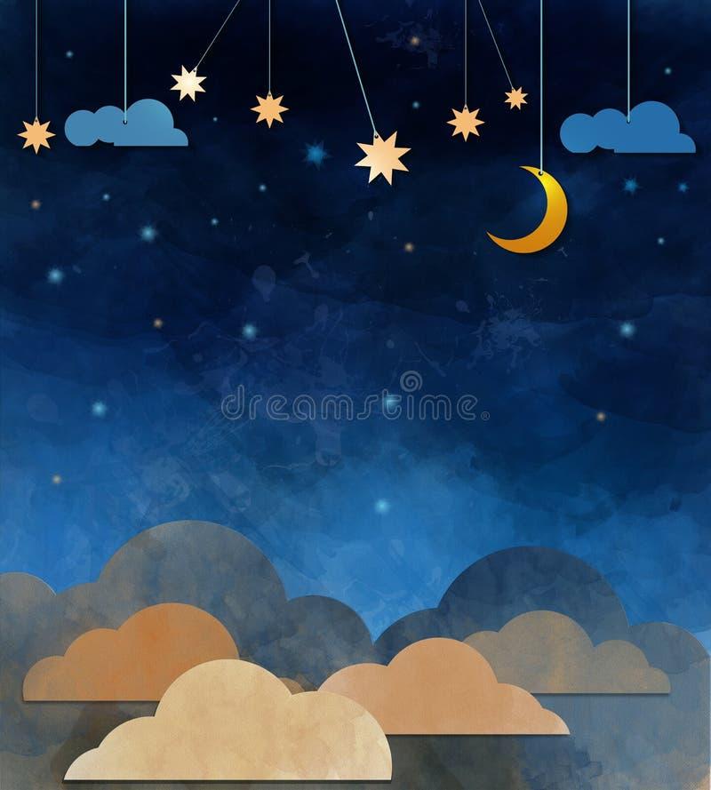 Ночное небо, облако, луна и звезда - отрезок бумаги бесплатная иллюстрация