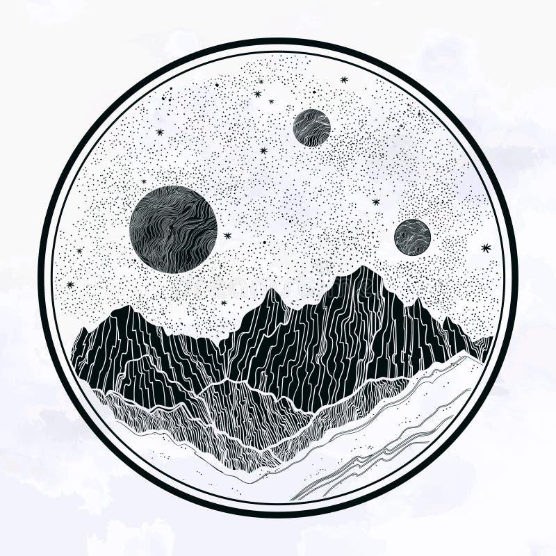 Ночное небо с горами ландшафтом, планетой, луной, элементами природы Изолированная винтажная иллюстрация вектора Приглашение иллюстрация вектора