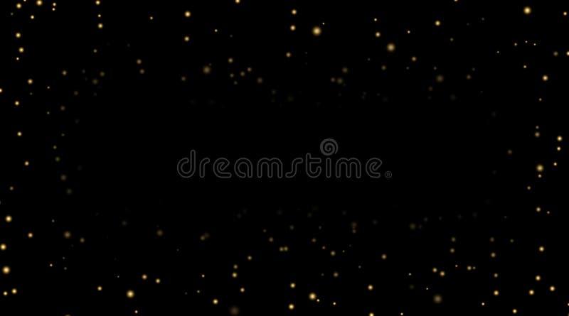 Ночное небо с звездами золота на черной предпосылке Темный шаблон космоса астрономии Обои картины галактики звёздные глянцевато иллюстрация штока