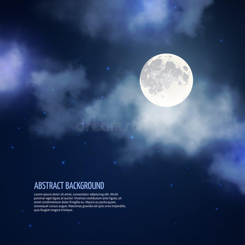 Ночное небо с конспектом вектора луны и облаков иллюстрация штока