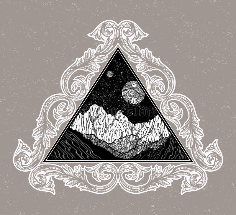 Ночное небо с ландшафтом гор в форме треугольника Изолированная винтажная иллюстрация вектора Приглашение Татуировка иллюстрация штока