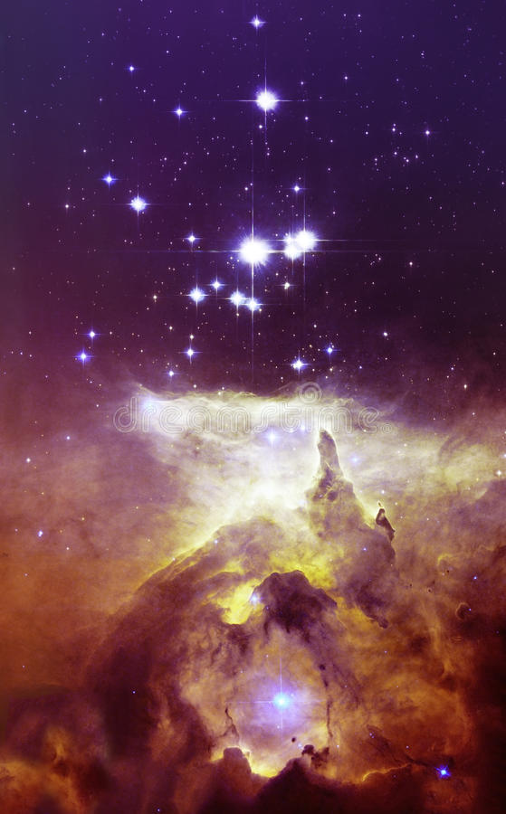 Ночное небо с предпосылкой межзвёздного облака звезд облаков Элементы изображения поставленные NASA иллюстрация вектора