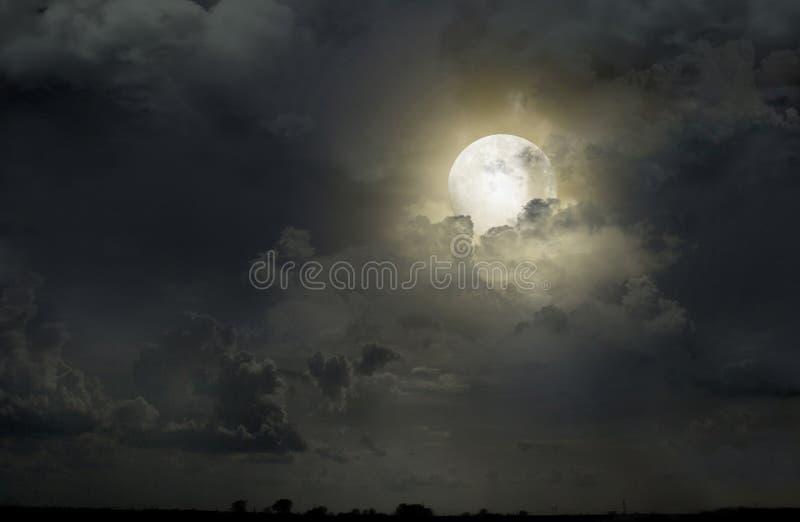 Ночное небо с луной стоковое фото rf