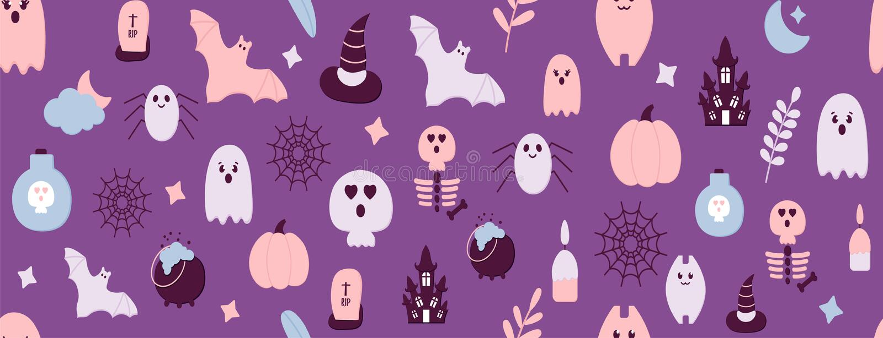 Ночные иконки вечеринок в стиле стрижки с плоской бумагой Halloween Seamless Pattern Страшный призрак, тыква, дом с привидениями, бесплатная иллюстрация
