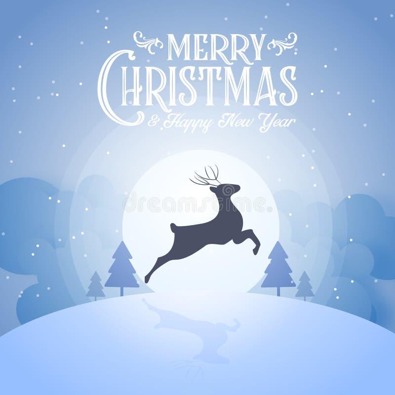 Ночь веселого рождества снежная и счастливое украшение оленя силуэта партии года конца фестиваля Нового Года и голубых текста кал иллюстрация штока