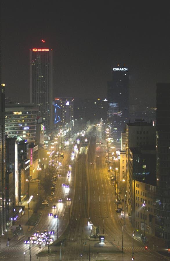 Ночь в свете на Варшаве стоковые изображения