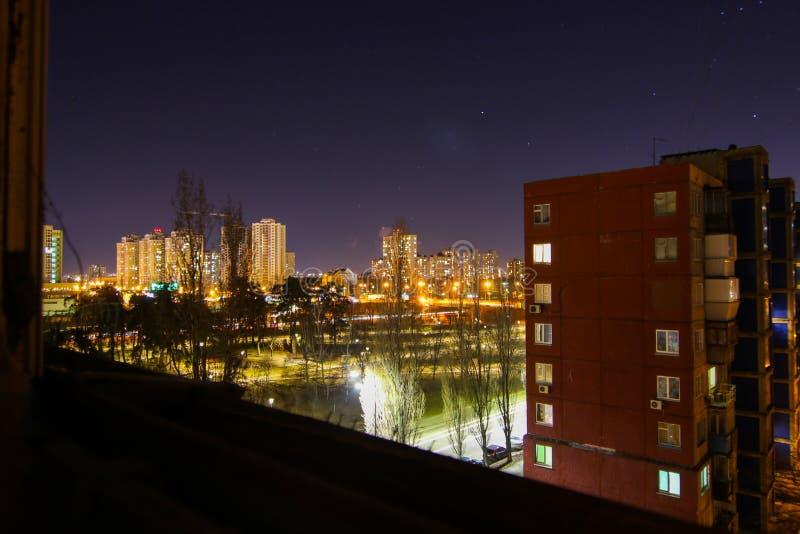 Ночь города панорама города ночи стоковое изображение rf