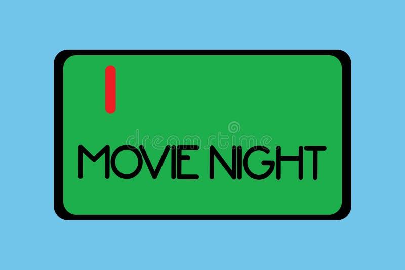 Ночь кино сочинительства текста почерка Концепция знача вскользь неофициальный реюньон для того чтобы смотреть дату отдыха кино д иллюстрация вектора