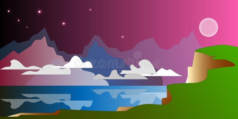 Ночь конспекта темная - красное небо с луной и звездами, облаками против гор и отражениями на воде бесплатная иллюстрация