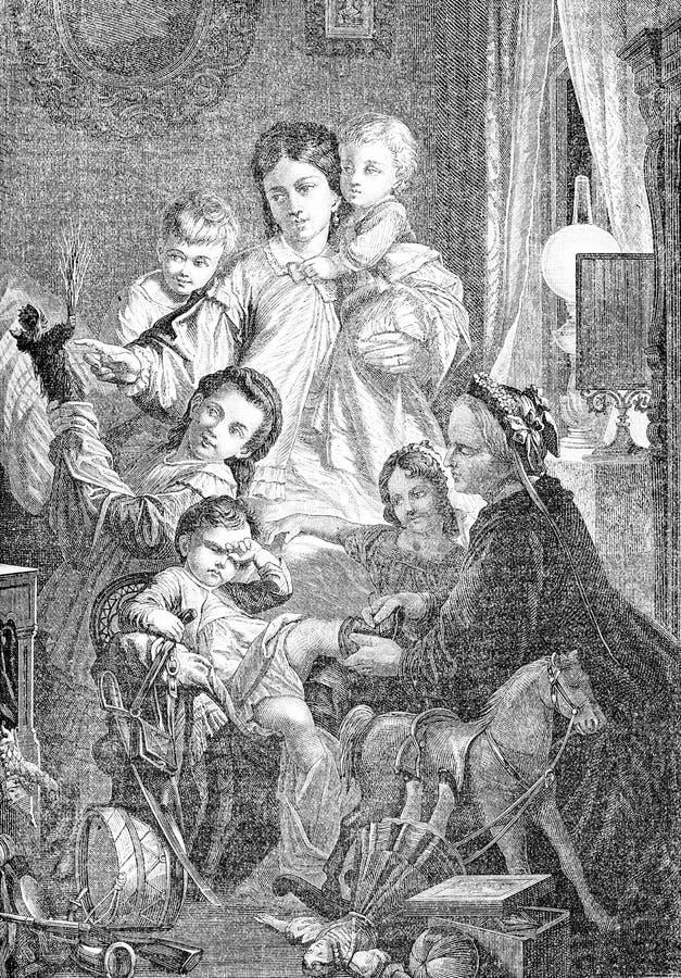 Ночь, подарки на рождество и дети пришествия святые иллюстрация вектора