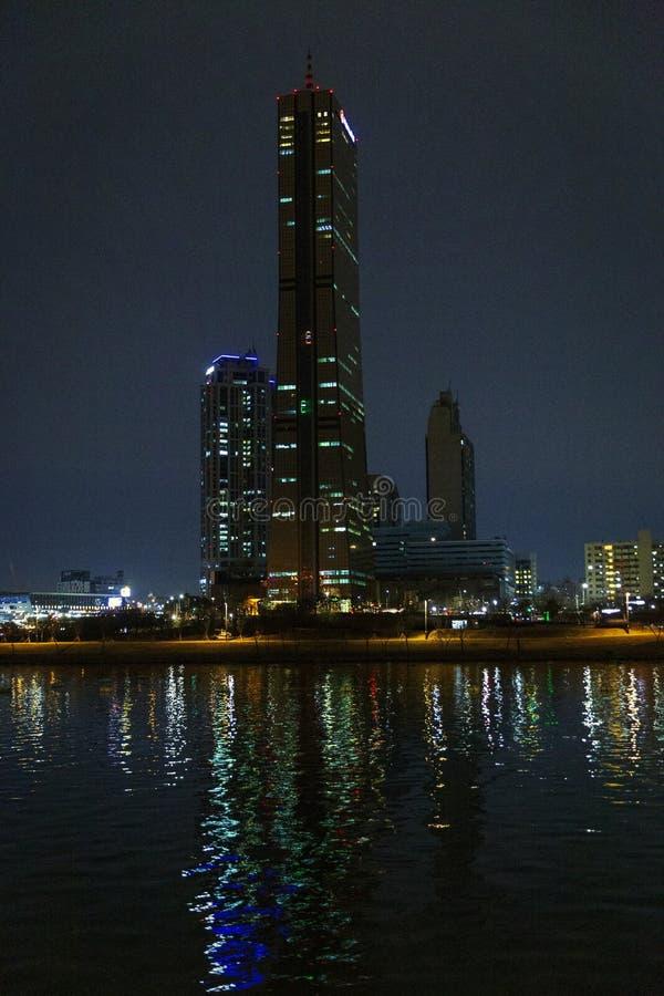 Ночь Сеул, река, briges, Южная Корея стоковая фотография rf