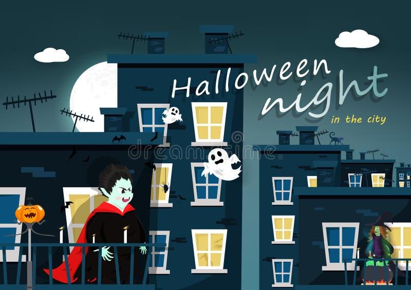 Ночь хеллоуина, персонаж из мультфильма, Дракула, ведьма, плоский дизайн, строя город с вектором карты плаката приветствию полнол иллюстрация штока