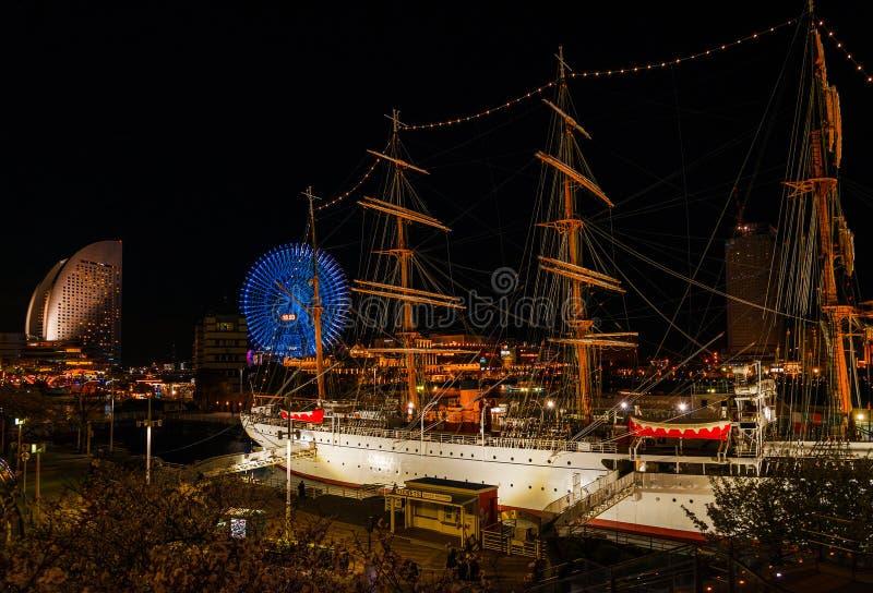 Ночь byt порта Иокогама стоковое фото rf
