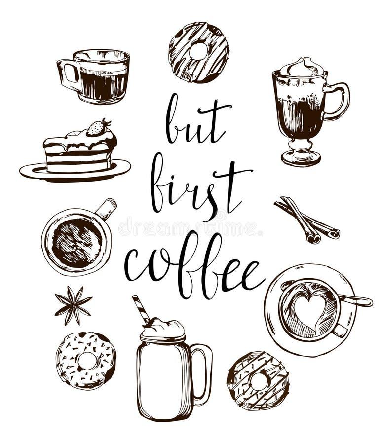 Но первая карточка кофе Современная каллиграфия с картиной кофе doodle Литерность нарисованная рукой вектор иллюстрация штока