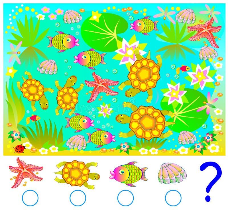 Нужно подсчитать сколько жителей моря в изображении и написать соответствуя номера в кругах иллюстрация штока