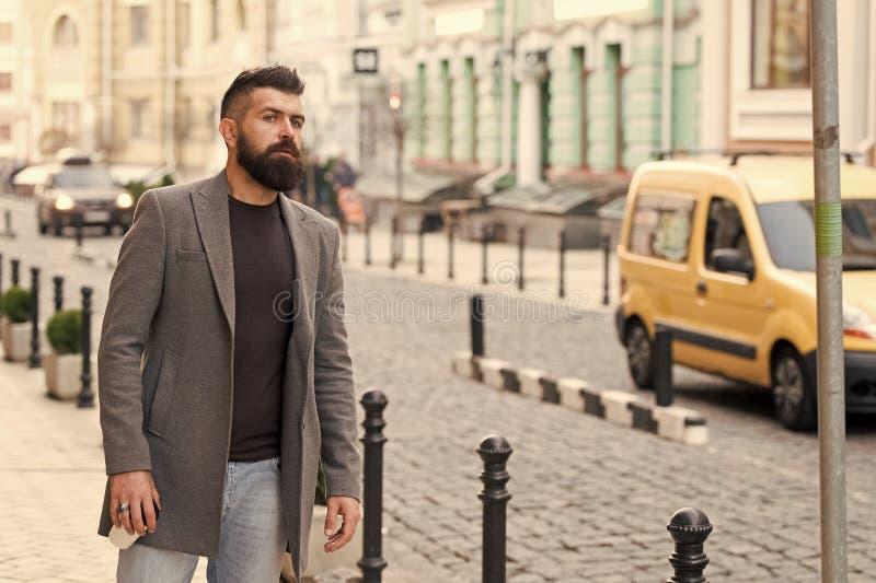 Нужно такси Такси бизнесмена улавливая пока стоящ outdoors городская предпосылка Непринужденный стиль хипстера человека бородатый стоковая фотография rf