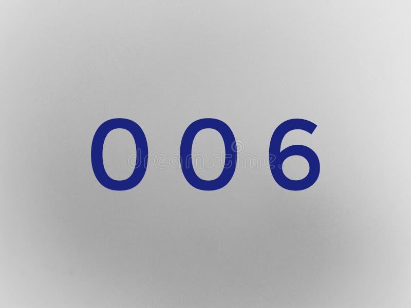 Нул нул 6 число в голубом цвете стоковые фотографии rf