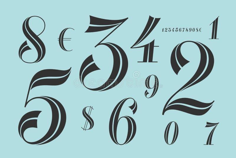 Нумерует шрифт Классический элегантный шрифт бесплатная иллюстрация