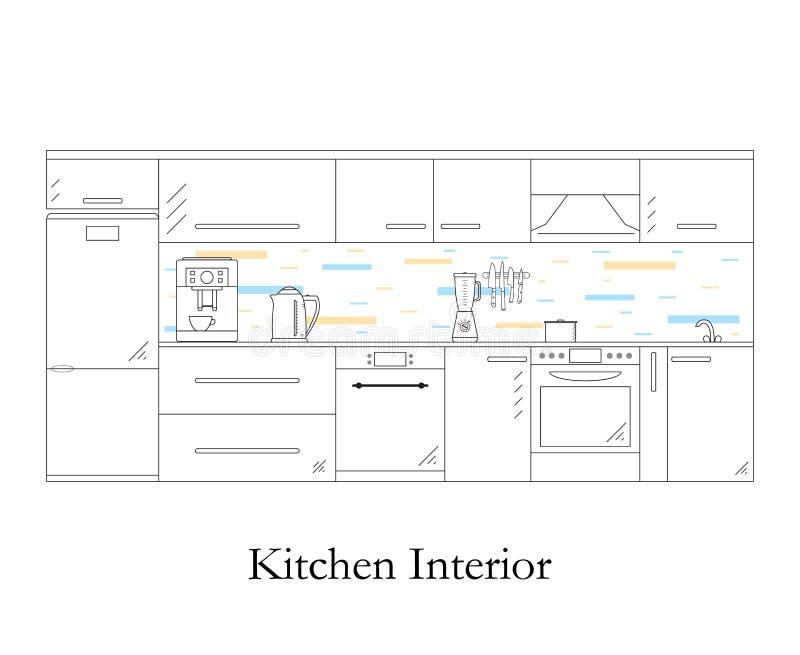 нутряная кухня линейный стиль Белая предпосылка бесплатная иллюстрация