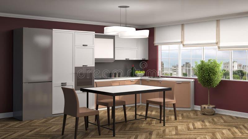 нутряная кухня иллюстрация 3d иллюстрация вектора