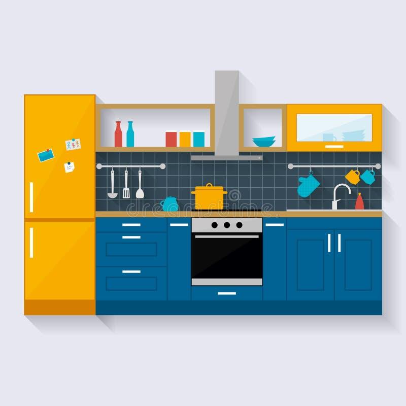 нутряная кухня Плоская иллюстрация стиля бесплатная иллюстрация