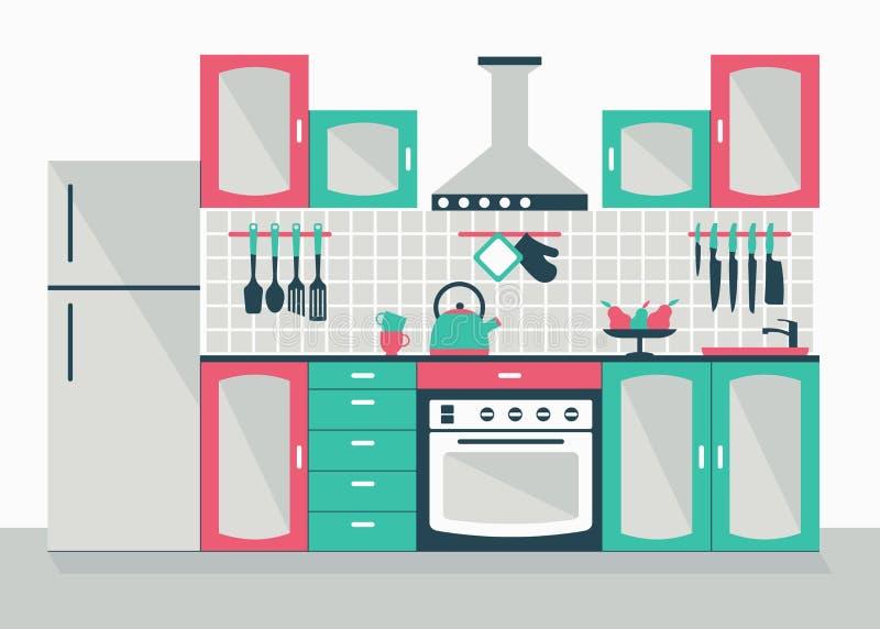 нутряная кухня самомоднейшая иллюстрация штока