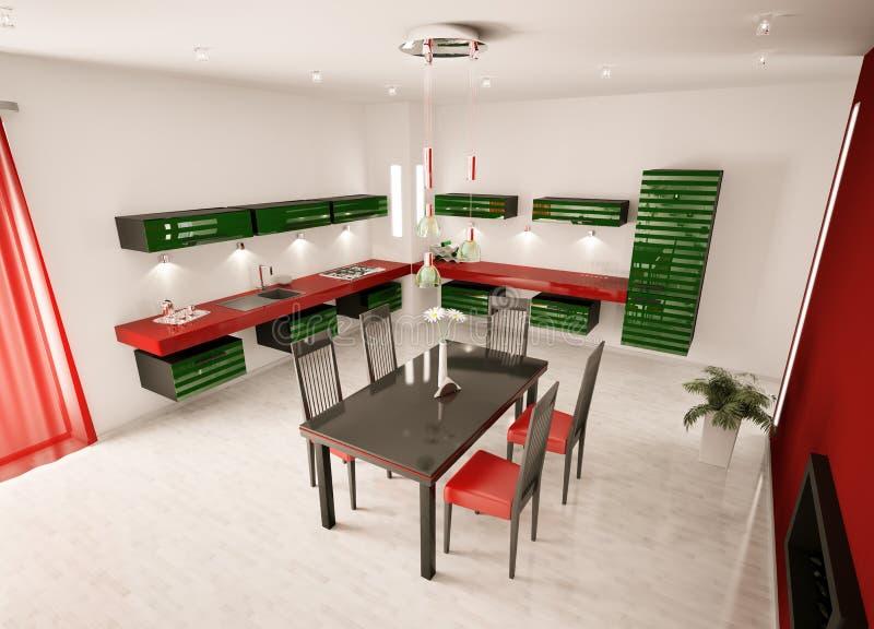 нутряная кухня 3d самомоднейшая представляет взгляд сверху иллюстрация штока