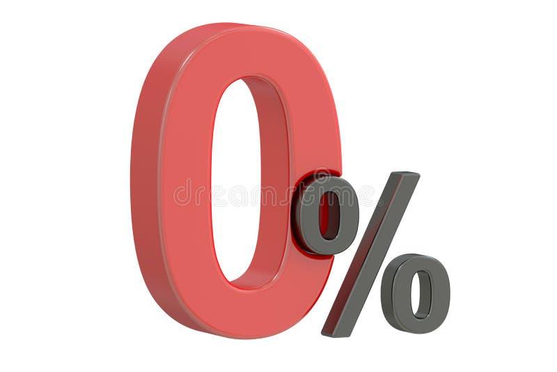 Нул концепций скидки 0 процентов, перевод 3D иллюстрация штока
