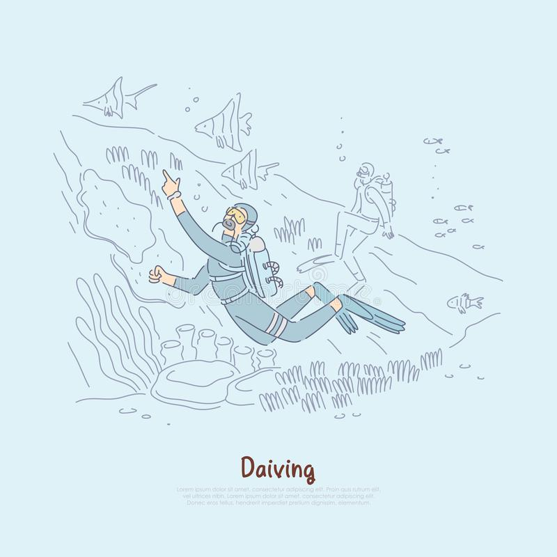 Ныряя вентиляторы изучая подводный мир, водолазов акваланга в мокрых одеждах с aqualungs плавая в знамени моря иллюстрация штока