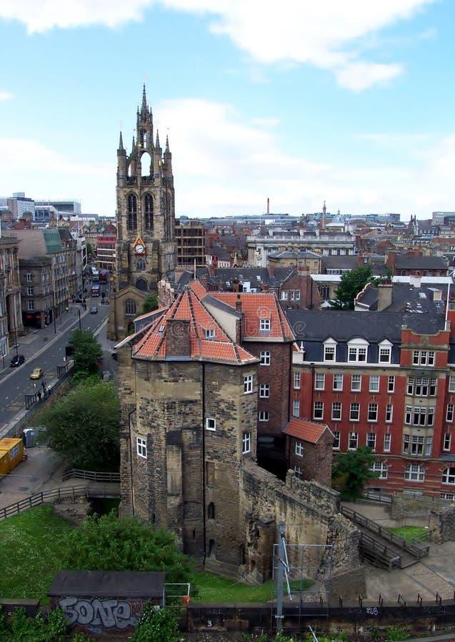 Ньюкасл на фото антенны Tyne стоковое изображение