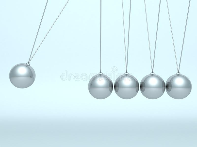 ньютон вашгерда шариков предпосылки голубой иллюстрация вектора