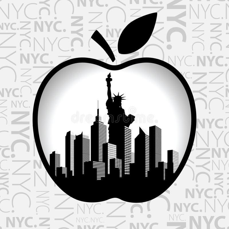 Нью-Йорк в большом Яблоке иллюстрация вектора