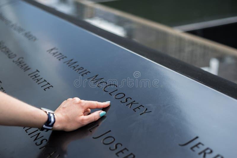 Нью-Йорк 9/11 имен мемориала стоковые фотографии rf