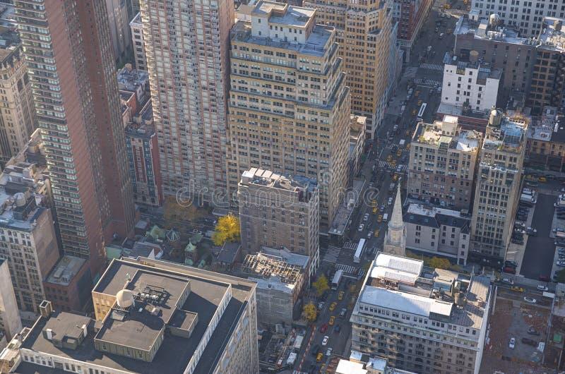 Нью-Йорк, конец вверх на зданиях стоковое фото