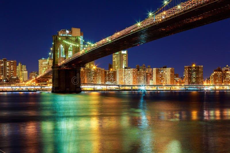 Нью-Йорк - красивый заход солнца над Манхэттеном с и Бруклинским мостом стоковые фотографии rf
