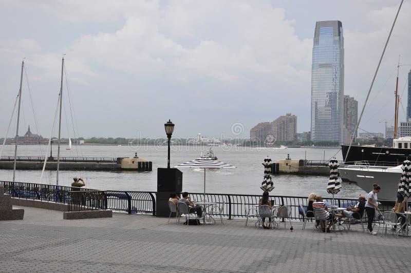 Нью-Йорк, 2-ое июля: Портовый район места Brookfield в Манхаттане от Нью-Йорка в Соединенных Штатах стоковое фото