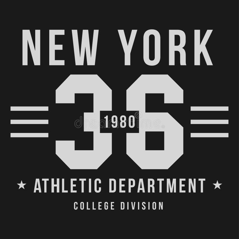 Нью-Йорк, оформление атлетического спорта для печати футболки Графики футболки иллюстрация вектора