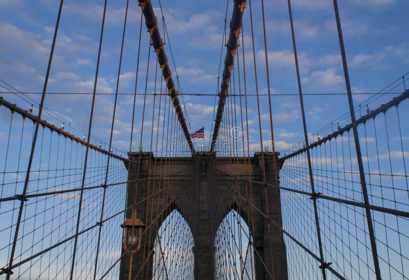 Нью-Йорк, перспектива Бруклинского моста стоковое изображение rf