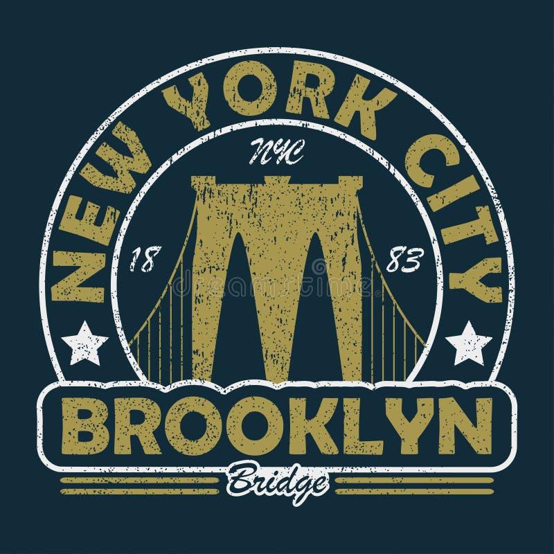 Нью-Йорк, печать grunge Бруклинского моста Винтажный городской график для футболки Первоначально дизайн одежд Ретро оформление од иллюстрация штока