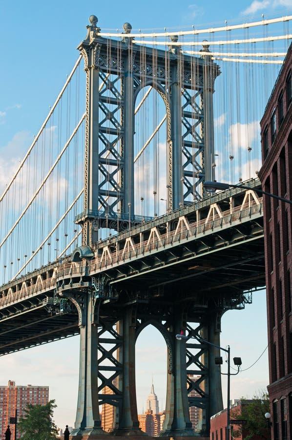 Нью-Йорк, США: иконический взгляд моста Манхаттана от района Dumbo 16-ого сентября 2014 стоковое фото rf
