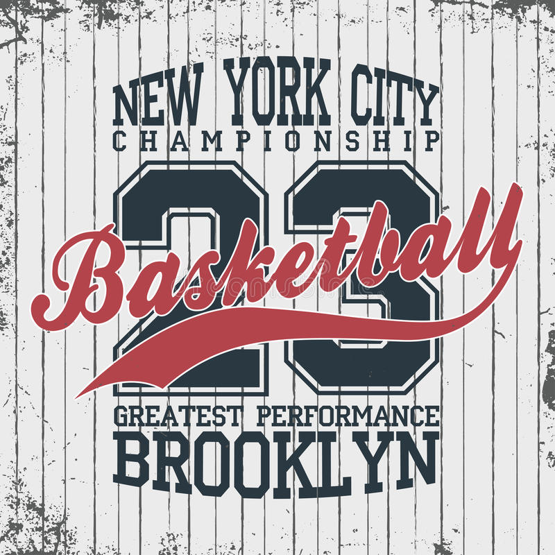 Нью-Йорк, эмблема sportswear баскетбола Дизайн одеяния баскетбола с литерностью Графики футболки иллюстрация вектора