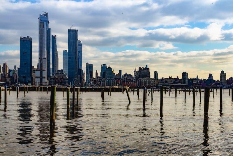 Нью-Йорк, NY/объединенный Государство-декабрь 26, 2018 - взгляд NYC от Weehawken, NJ стоковые изображения