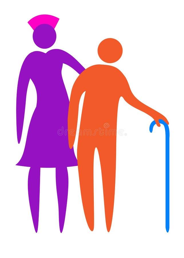 Нюна помогая старшию погулять иллюстрация штока