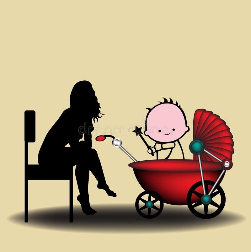 Download няня иллюстрация вектора. иллюстрации насчитывающей семья - 18393663