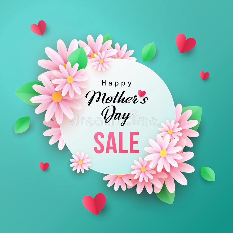 Нappy Mothers Day Sale background with beautiful chamomile flowers vector illustration